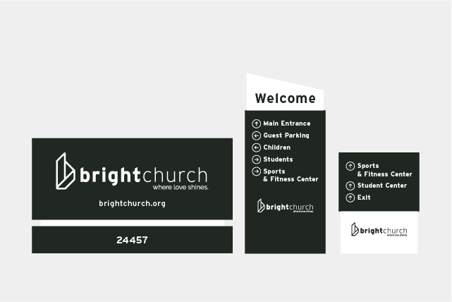 Bright Church - Monument Sign and Parking Lot Wayfinding